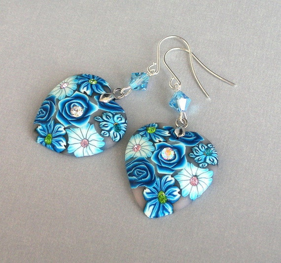 Blue heart earrings, floral polymer clay
