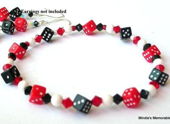 Dice bracelet, red and black, stretchy acrylic, Swarovski crystal, gambling theme