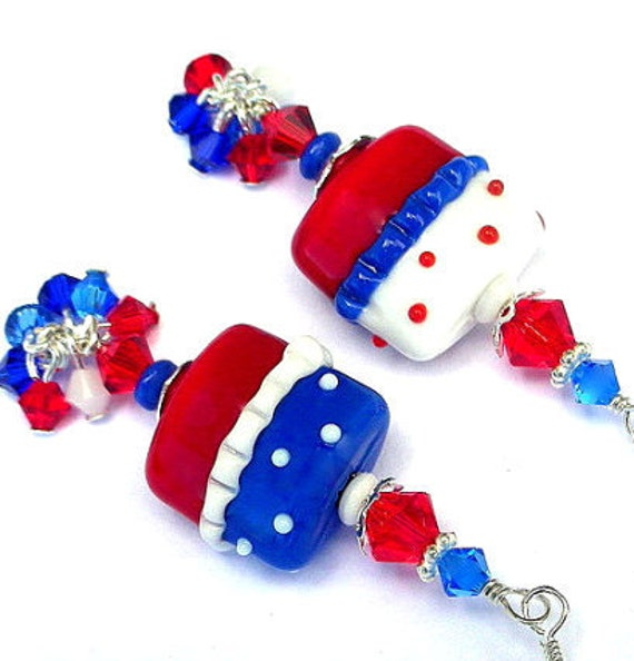 Red, white and blue earrings, July 4 polka dot cluster earrings, patriotic lampwork glass, Swarovski crystal