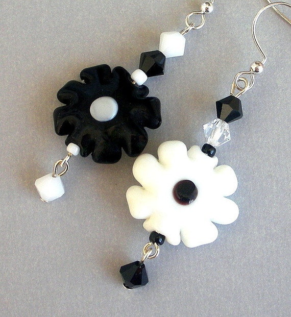 Black and white flower earrings, mismatched floral, lampwork glass two tone earrings, Swarovski crystal elements