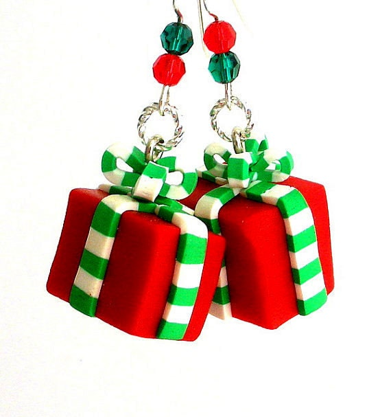 Christmas earrings polymer clay wrapped gifts free shipping