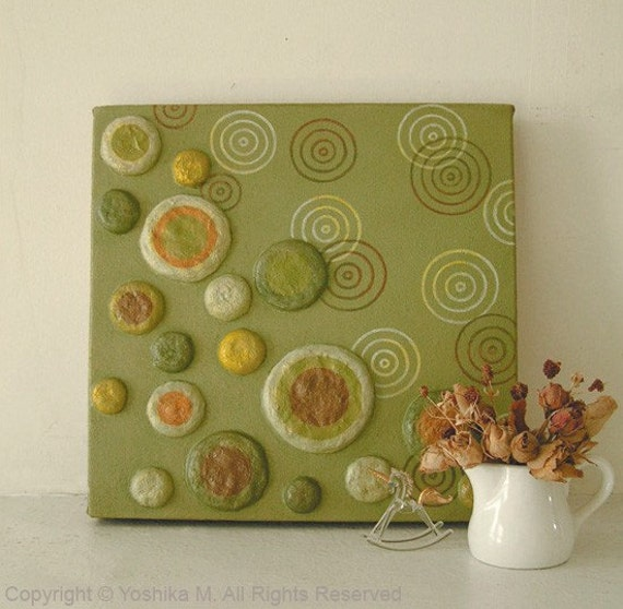 SALE 45% OFF --  Seeds of Hope Green 3D Relief Wall Art -- Metallic Gold Finish