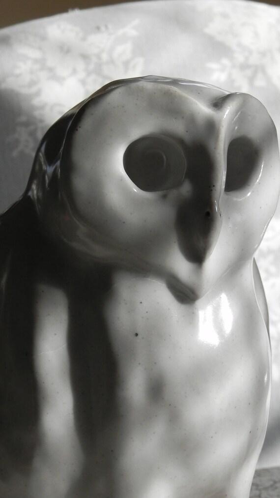 snowy white stoneware owl