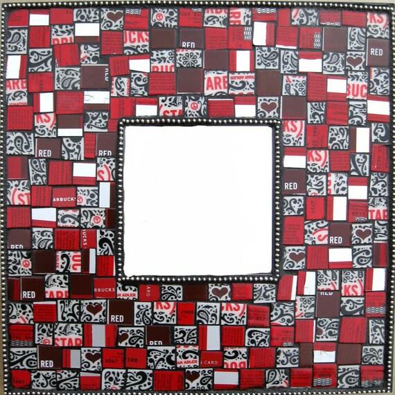 STARBUCKS Upcycled Mosaic Mirror - RED