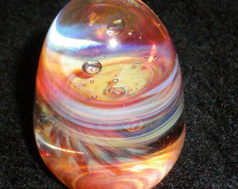 Swirled Rippled and Bubbled Egg Light Sculpture - Handblown Glass