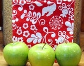 Reusable Cloth Sandwich Bag -- Red Joy -- Handmade Eco Friendly and Green