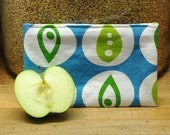 Reusable Cloth Snack Bag -- Blue Peapod -- Handmade Eco Friendly and Green