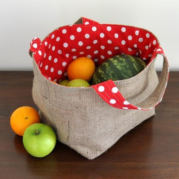Cloth Market Bag -- Reusable Shopping Bag -- Strawberries N Cream Red Polka Dots -- Handmade Eco Friendly and Green