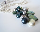 Green Pearl Drops Sterling Silver Necklace