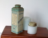 Vintage Powder Tin Cosmetic Jars Toiletries Bottles Bathroom Containers Cottage Dressing Room Collection