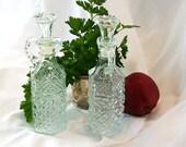 Vintage Cruet Set Textured Clear Glass Oil and Vinegar Bottles Jars Stoppers Lids Kitchen