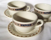 Restaurant Ware Cups and Saucers Vintage Mixed Patterns 6 pieces Sterling Buffalo
