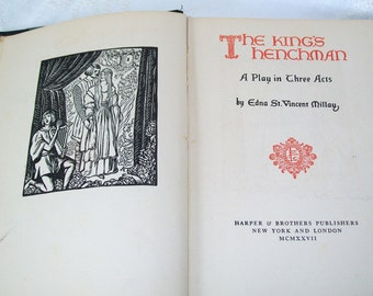 Edna St. Vincent Millay 1920s Vintage Book Kings Henchman Theater Play Poetry 1927 Teal Aqua
