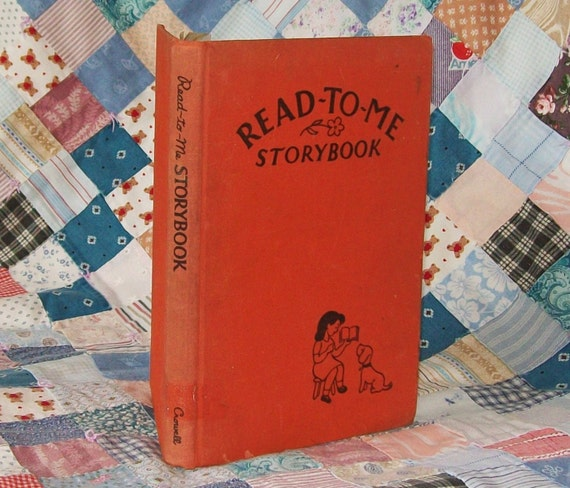 1947 Storybook  Book Childrens Vintage Read To Me Red Cloth Bound Library Poems Ink Drawings