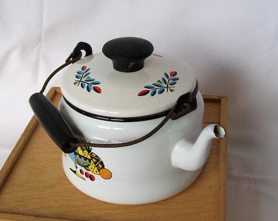 Vintage Enamelware Tea Kettle Enamel Ware White Black Wooden Handle Bright Color Picture Images Mid Century Retro Kitchen Fruit Bowl Picture