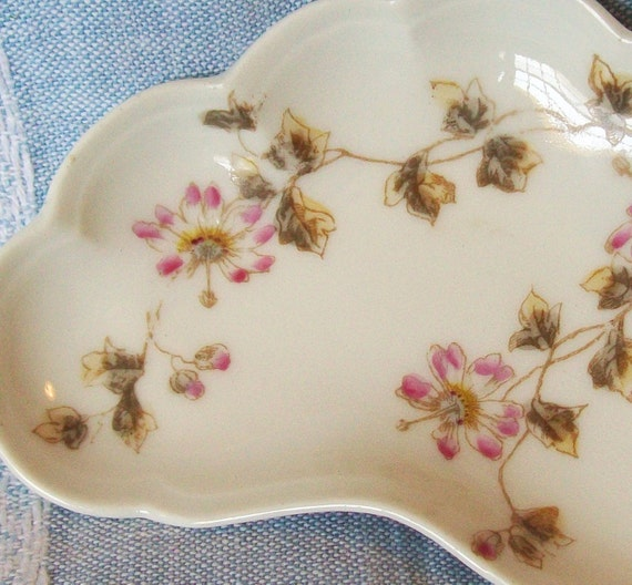 Charles Field Haviland Limoges China Bone Dish Hand Painted Pink Flowers Scalloped Edge