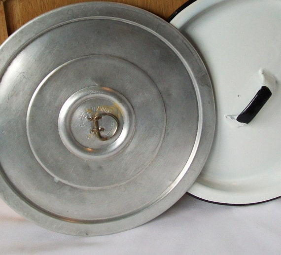 3 Vintage Pan Lids Black White Enamel and Aluminum Pot Covers 7, 8 Inch