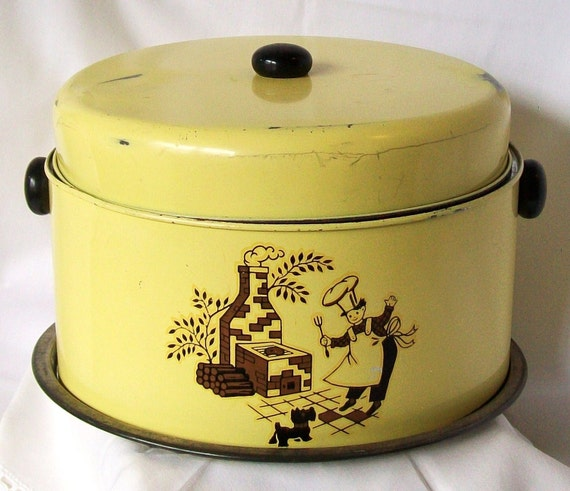 Vintage Cake Cover Yellow with Brown BBQ Picture Painted Tin Food Holder