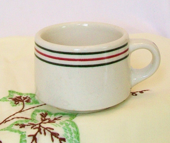 1929 Vintage Restaurant Ware Cup Very Heavy Old Coffee Mug Red Green Stripe Cafe China Diner Dishes