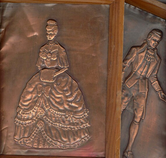 Copper Sheet Embossed Picture Pair Vintage By Pinkpainter