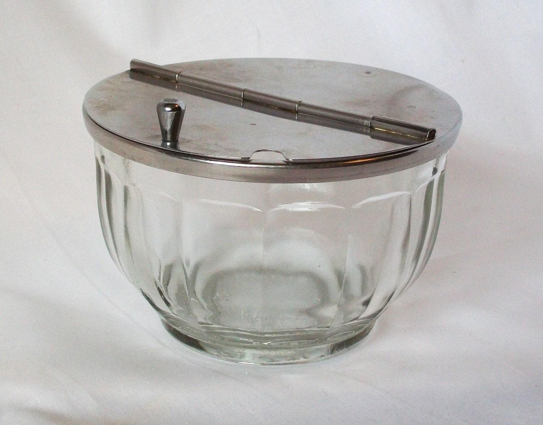 Glass Sugar Bowl Metal Lid Cafe Restaurantware Diner