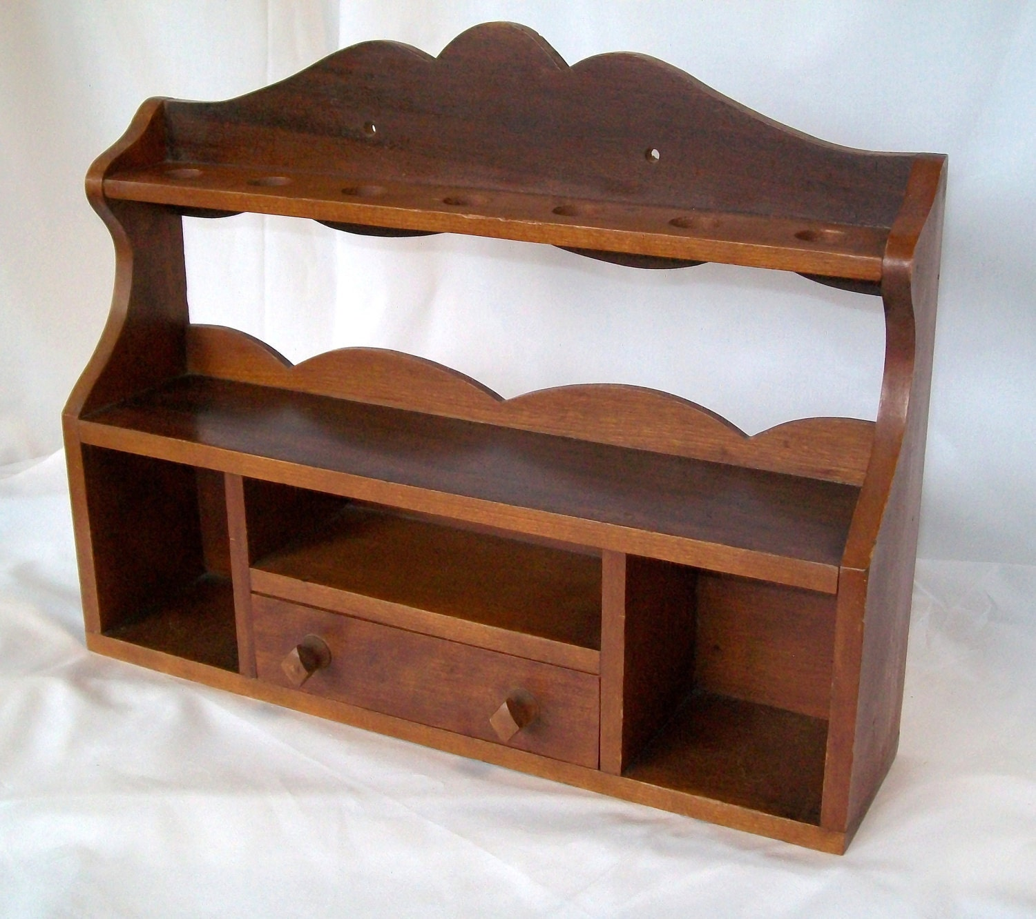 antique pipe stand vintage wooden shelf with drawer wall. Black Bedroom Furniture Sets. Home Design Ideas