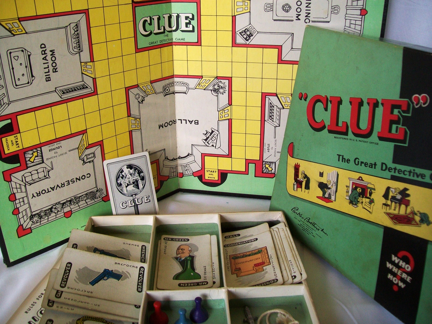 1972 Vintage Clue Board Game Parker Brothers Detective Game Parts Only