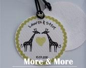Giraffe Wedding Tags - Personalized 2.25inch Circle Tags - Set of 60 - Wedding Favor Tags - Bridal Shower Tags - Thank You Tags - Custom Tag