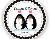 Loving Penguins Theme - Personalized circle Stickers - 5 sheets - Favor - Weddings - Bridal Shower - Thank You - Address Labels