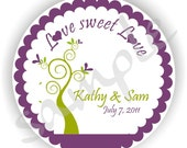 Love Sweet Love Stickers - Personalized circle Stickers - 7 sheets - Favor - Weddings - Bridal Shower - Thank You - Address Labels
