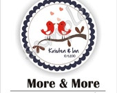 Personalized circle Stickers - 15 sheets - Favor - Weddings - Bridal Shower - Birthday - Thank You -Address Labels
