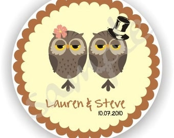 Owl Design - Personalized circle Stickers - 3 sheets - Favor - Weddings - Bridal Shower - Baby Shower - Birthday - Thank You -Address Labels
