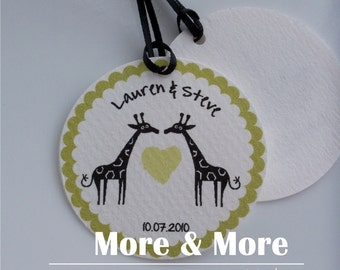 Giraffe Wedding Tags - Personalized 2.25inch Circle Tags - Set of 60 - Wedding Favor Tags - Bridal Shower Tags - Thank You Tags - Custom Tag