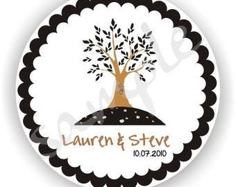 Tree Stickers - Personalized circle Stickers - Favor - Weddings - Bridal Shower - Birthday - Thank You -Address Labels
