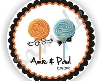 Lollipop Design Labels - Personalized Stickers - 5 sheets - Custom Favor Labels - Wedding Labels - Bridal Shower Labels - Address Labels
