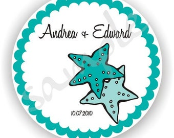 Starfish Theme - Personalized circle Stickers - 10 sheets - Favor - Weddings - Bridal Shower - Birthday - Thank You -Address Labels