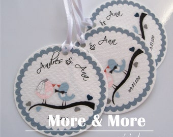 Loving Birds on a Branch Theme - Personalized 1.75inch Circle Tags - Set of 120 - Weddings - Bridal Shower - Thank You - Favor Tag