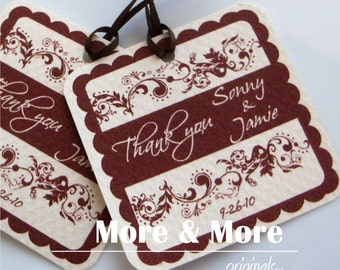 Personalized 2inch Square Tags - Set of 100 - Weddings - Bridal Shower - Thank You - Favor Tag
