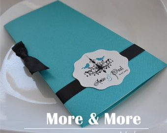 Fold Layered Wedding Program Book with Ribbon Tie - Set of 75