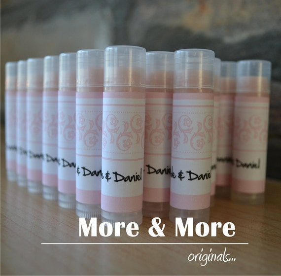 Wedding Favors - Lip Balms - Set of 35 - Choose Flavor and Design