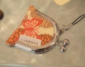 Coin purse strap ---Japanese Kimono fabric---oange butterfly