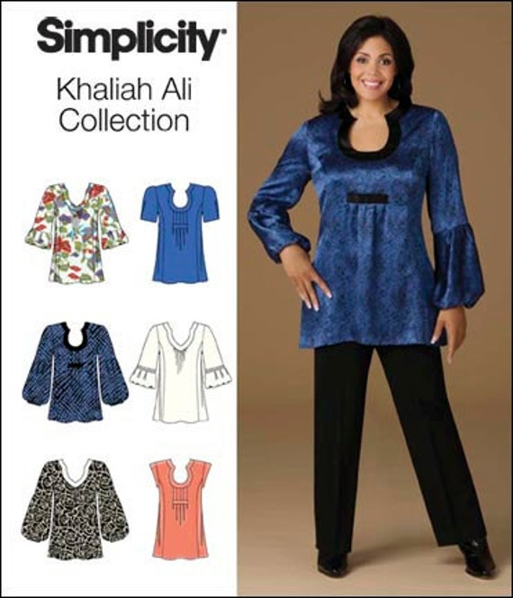Plus Size Tops Khaliah Ali Collection Pattern Simplicity 2641 sz 26 28 30 32