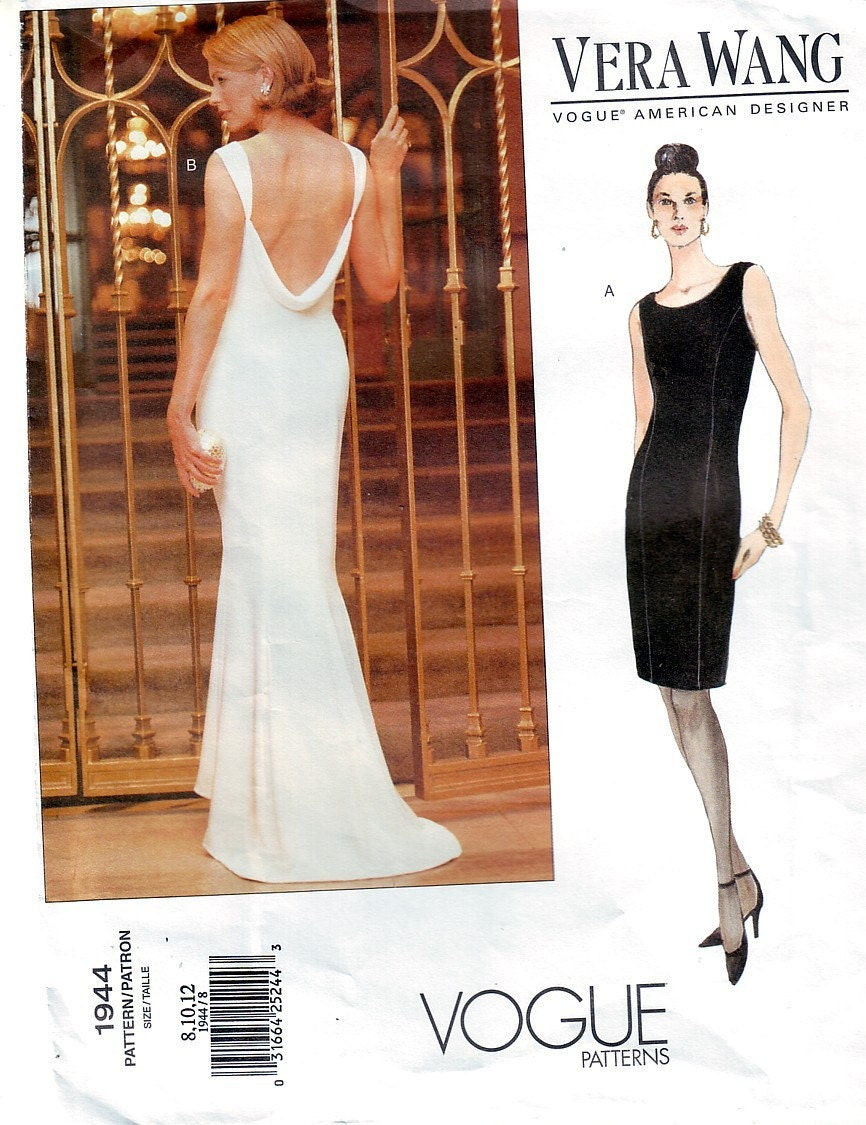 Vera Wang Designer Vogue Evening Formal Dress Pattern Uncut