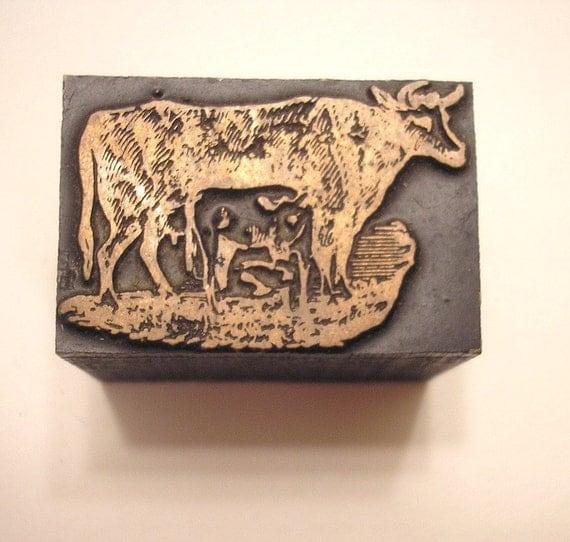 Cow and Calf Vintage Letterpress Printer's Block