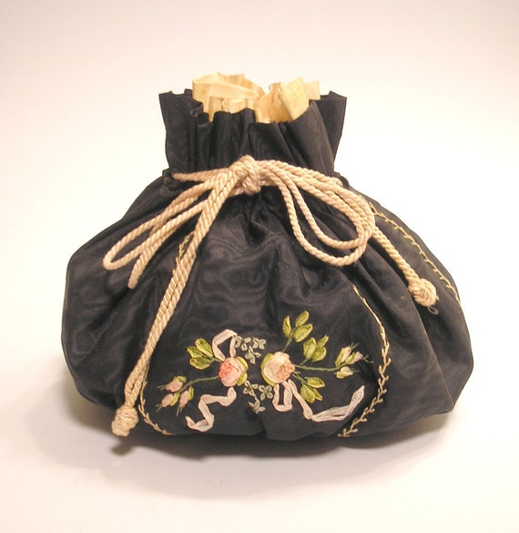 Antique Sewing Bag with Ribbon Embroidered Flowers
