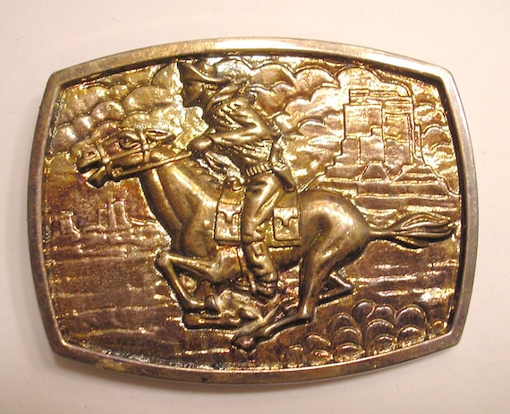 Nice Big Galloping Horse and rider Pony Express Belt Buckle