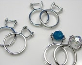 6 pcs - Adjustable Antique Silver Finger Ring Setting, Nickel-free, Lead-free, Add-A-Bead Design