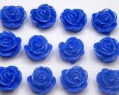 10 pcs 13mm Deep Blue Shimmer Rose Lucite Cabochons