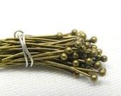 50pc 24 guage Antique Brass Ball Headpins, 0.75 inch, 1.5mm ball