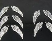 Tibetan Antique Silver Wing Pendant, Lead and Cadmium Free, 30x9.5mm - 20 pcs